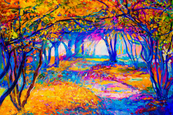 painting of forest in bright colors