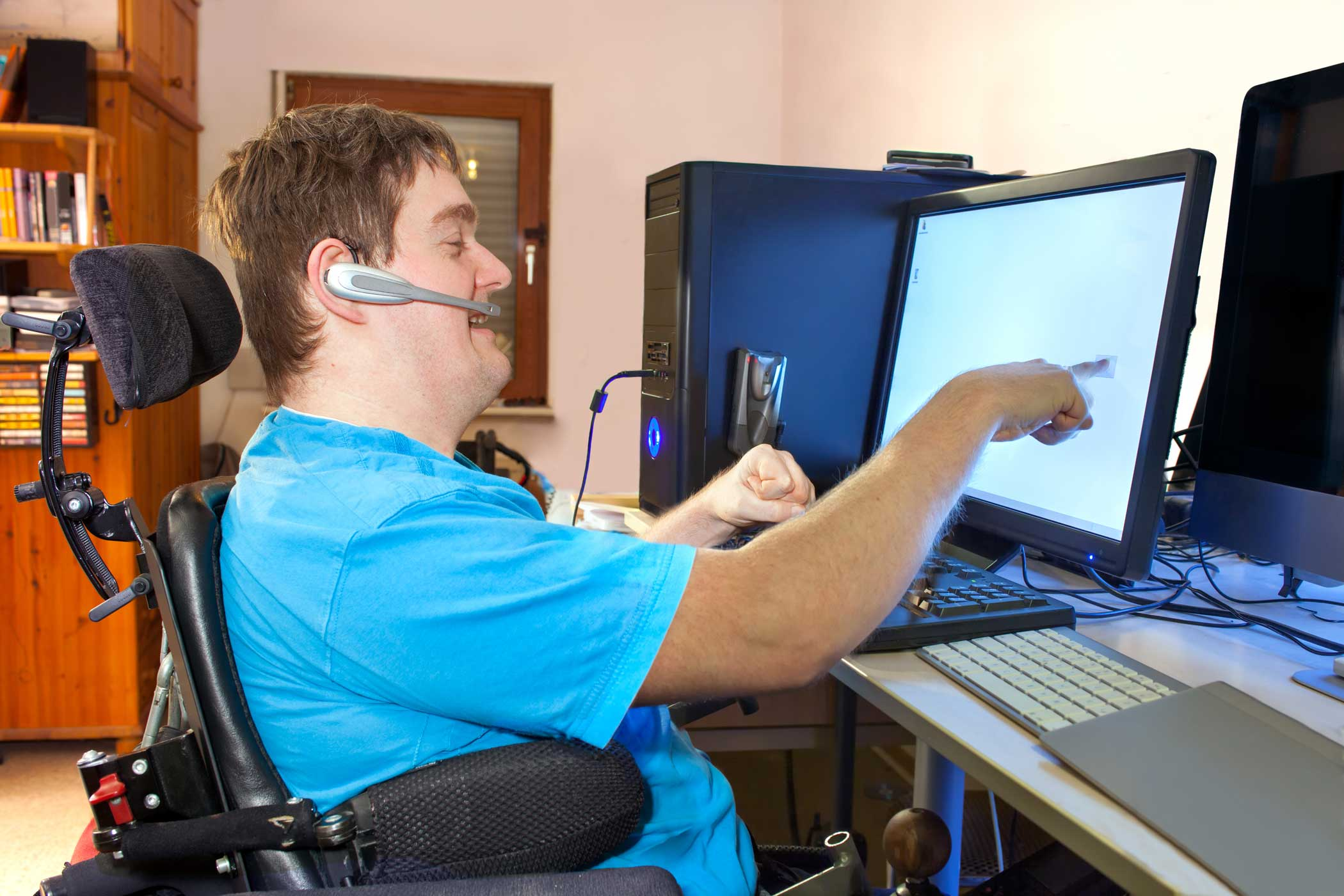 disabled man using computer