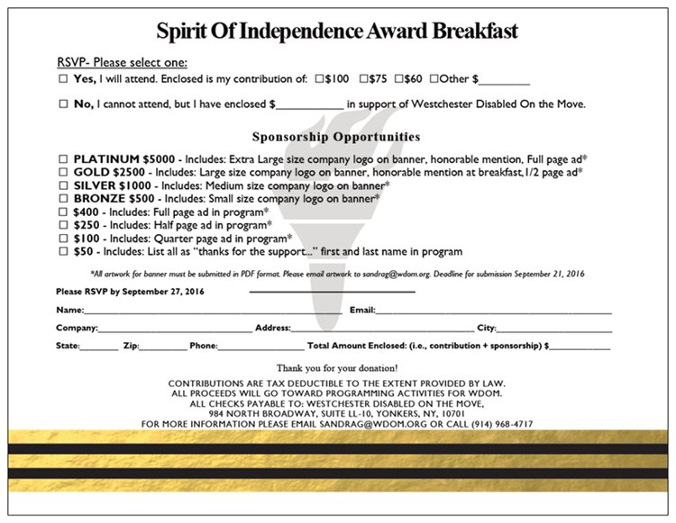 Spirit of Independence Awards Sponsorship Opportunities - WDOMI